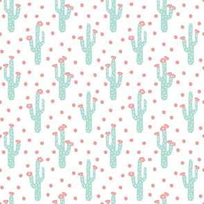 cactus blooms triangles mint and coral cactus flowers florals