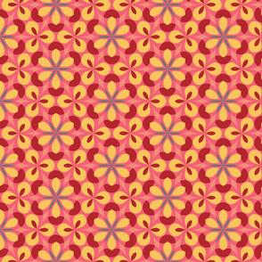 Pink & Red Floral Geometric