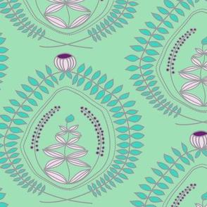 Blumenkranz in turquoise