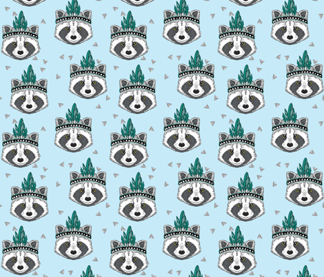 Aztec Raccoon  fabric by taluna on Spoonflower - custom fabric