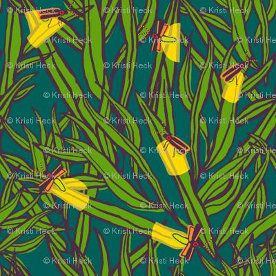 2 firefly: deep pine / plum + asparagus