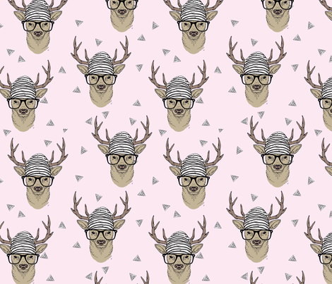 Pink Hipster Deer fabric by taluna on Spoonflower - custom fabric