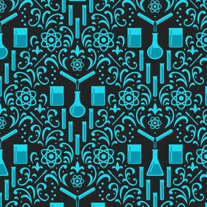 Mad Science Damask (Dark Blue)