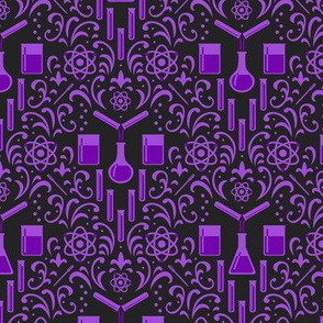 Mad Science Damask (Dark Purple)