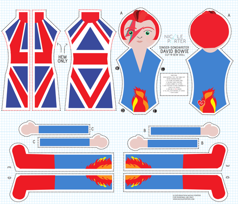 David Bowie Cut-and-Sew Doll fabric by nicoleporter on Spoonflower - custom fabric