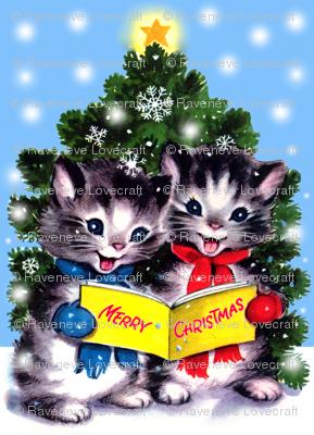 merry christmas cats kittens trees snow flakes winter stars carolling singing carols songs vintage retro kitsch - Merry Christmas Cat