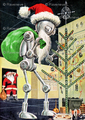 merry Christmas Santa Claus computers servers rooms radars control bolts nuts springs cables robots androids cogs wheels brackets oil can oiler batteries magnetic tapes machinery machines ornaments baubles pop art science fiction sci fi futuristic enginee