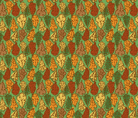 Oak Leaves  // Multicolored fabric by tanksley on Spoonflower - custom fabric