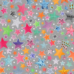 Little Patchwork Stars - grey