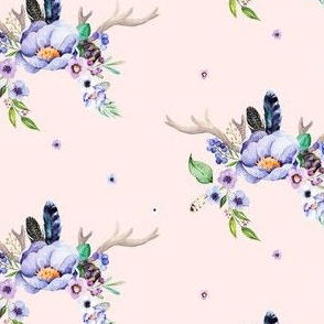 Purple Floral Deer Antlers in Pink