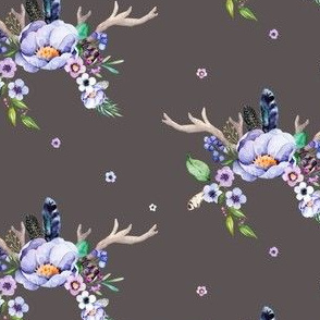Purple Floral Deer Antlers in Dusty Brown