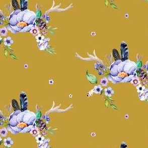 PurpleFloral Deer Antlers in Autumn Gold
