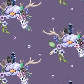 Purple Floral Deer Antlers in Dark Lilac