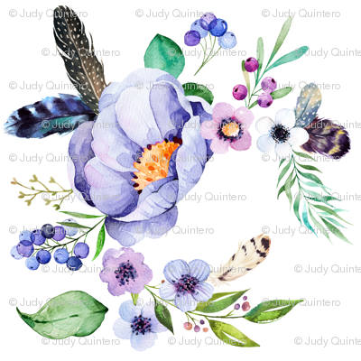 Purple Floral Feather in White