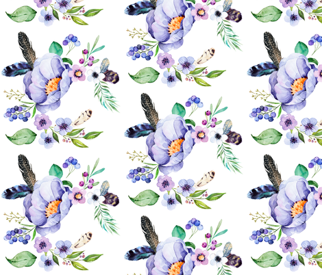 Purple Floral Feather in White fabric by shopcabin on Spoonflower - custom fabric