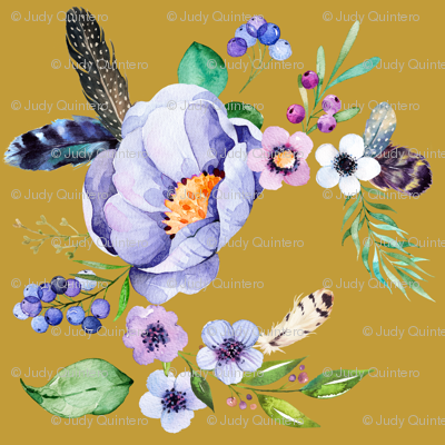 Purple Floral Feathers in Autumn Gold