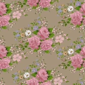 Vintage pink roses pattern