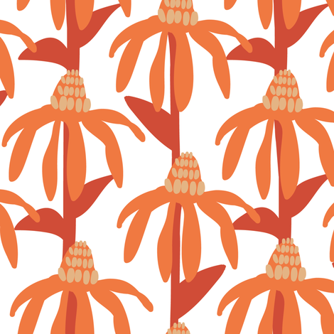 Coneflowers in orange and red fabric by lburleighdesigns on Spoonflower - custom fabric