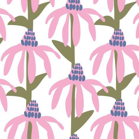 Coneflowers in pink and green fabric by lburleighdesigns on Spoonflower - custom fabric