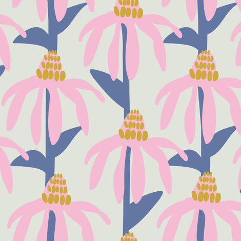 Coneflower orange and slate blue fabric by lburleighdesigns on Spoonflower - custom fabric