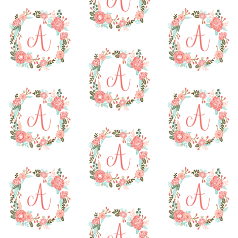 d373f7bf9 a monogram girls florals floral wreath cute blooms coral pink girls small  monogram fabric sweet girls