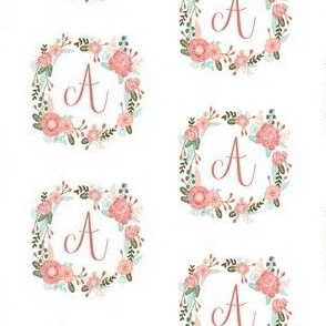 a monogram girls florals floral wreath cute blooms coral pink girls small monogram fabric sweet girls design