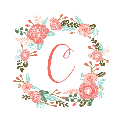 c monogram girls florals floral wreath cute blooms coral pink girls small monogram fabric sweet girls design