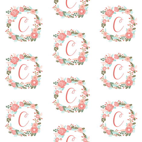 c monogram girls florals floral wreath cute blooms coral pink girls small monogram fabric sweet girls design fabric by charlottewinter on Spoonflower - custom fabric