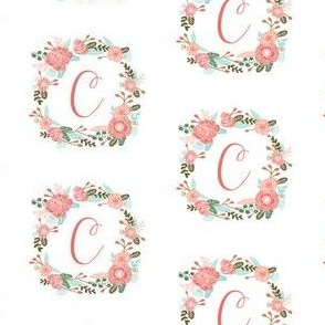 c monogram girls florals floral wreath cute blooms coral pink girls small monogram fabric sweet girls design
