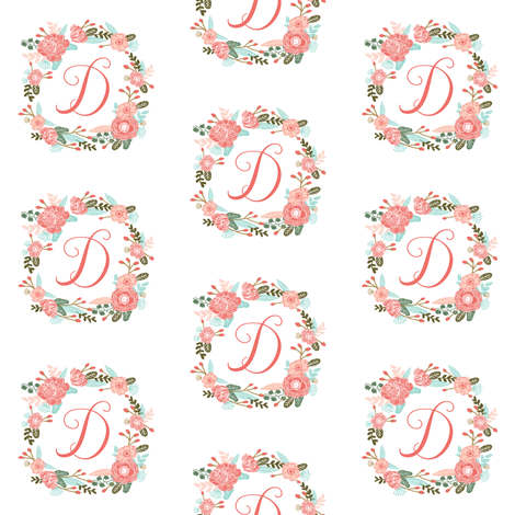 ba4255026 d monogram girls florals floral wreath cute blooms coral pink girls small  monogram fabric sweet girls