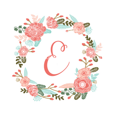 009865b6e e monogram girls florals floral wreath cute blooms coral pink girls small  monogram fabric sweet girls