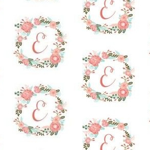 e monogram girls florals floral wreath cute blooms coral pink girls small monogram fabric sweet girls design