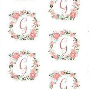 g monogram girls florals floral wreath cute blooms coral pink girls small monogram fabric sweet girls design