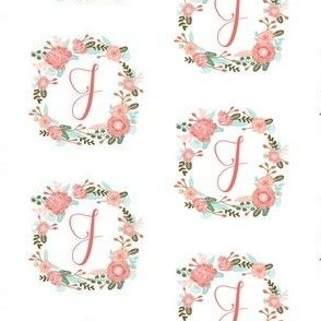 j monogram girls florals floral wreath cute blooms coral pink girls small monogram fabric sweet girls design