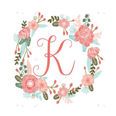 K Monogram Girls Florals Floral Wreath Cute Blooms Coral