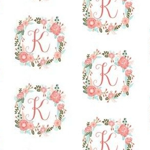 k monogram girls florals floral wreath cute blooms coral pink girls small monogram fabric sweet girls design