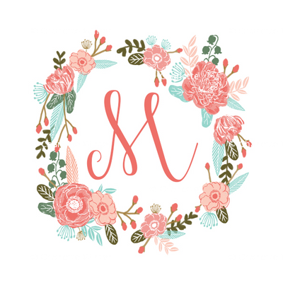 6f439e1a9 m monogram girls florals floral wreath cute blooms coral pink girls small  monogram fabric sweet girls