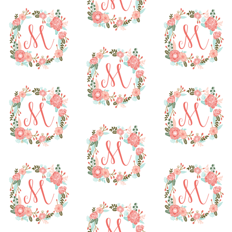 m monogram girls florals floral wreath cute blooms coral pink girls small monogram fabric sweet girls design fabric by charlottewinter on Spoonflower - custom fabric