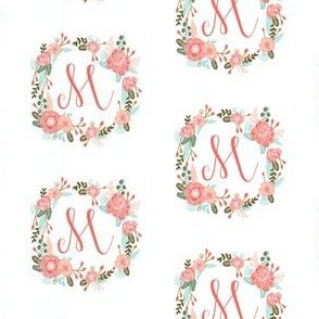 m monogram girls florals floral wreath cute blooms coral pink girls small monogram fabric sweet girls design