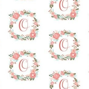 o monogram girls florals floral wreath cute blooms coral pink girls small monogram fabric sweet girls design