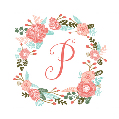 p monogram girls florals floral wreath cute blooms coral pink girls small monogram fabric sweet girls design