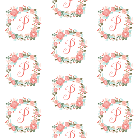 p monogram girls florals floral wreath cute blooms coral pink girls small monogram fabric sweet girls design fabric by charlottewinter on Spoonflower - custom fabric