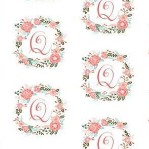 q monogram girls florals floral wreath cute blooms coral pink girls small monogram fabric sweet girls design