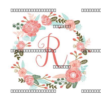 R Monogram Girls Florals Floral Wreath Cute Blooms Coral