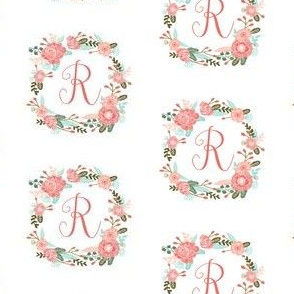 r monogram girls florals floral wreath cute blooms coral pink girls small monogram fabric sweet girls design