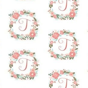 t monogram girls florals floral wreath cute blooms coral pink girls small monogram fabric sweet girls design
