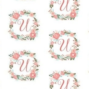 u monogram girls florals floral wreath cute blooms coral pink girls small monogram fabric sweet girls design