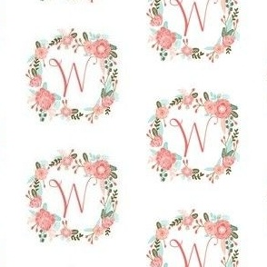 w monogram girls florals floral wreath cute blooms coral pink girls small monogram fabric sweet girls design