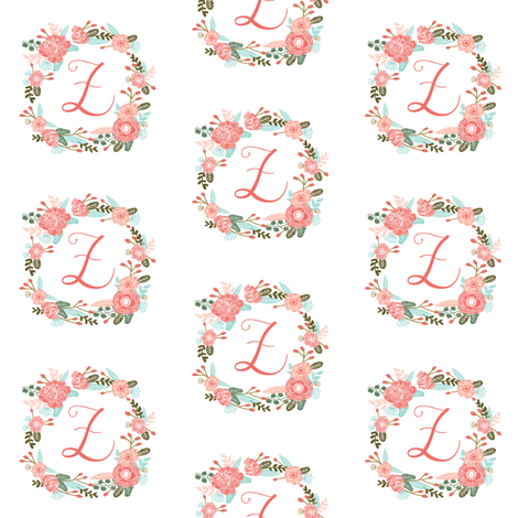 z monogram girls florals floral wreath cute blooms coral pink girls small monogram fabric sweet girls design fabric by charlottewinter on Spoonflower - custom fabric