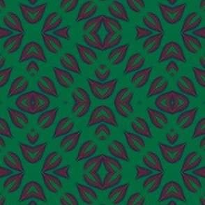 Sangria and Green Square Pattern